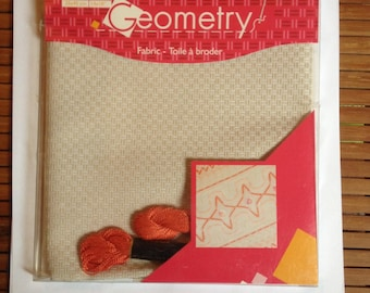 Beige canvas Geometry DMC embroidery FLOSS
