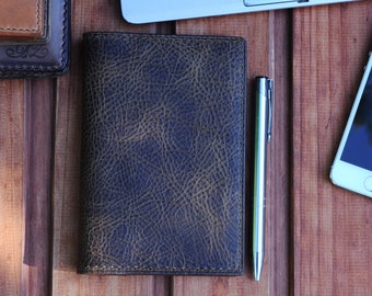 Field Notes Refillable cover Full grain Vegetable-tanned Italian Leather READY TO SHIP Cow Hide travel wallet passport cover-moleskine cover