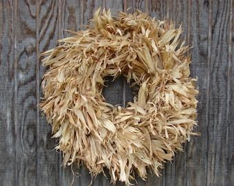 Dried Corn Husk Wreath, Natural Wreath, Fall Wreath, Harvest Corn Wreath, Autumn Wreath, Harvest Wreath