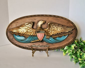 Patriotic Americana Memorabilia, Bald Eagle American Flag Shield, Freedom 3D Oval Plaque, Embosograph Display Mfg. Co. 1968 CLEARANCE