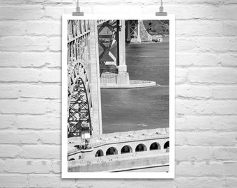 Kayaking Picture, Black and White Golden Gate Bridge Photography, Kayaker Gift, Fort Point Picture, Sea Kayak Photograph, San Francisco Art
