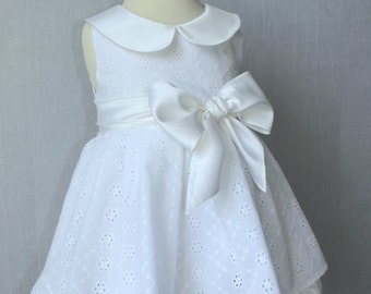 Christening Dress & Bloomers, Baptism, Christening Outfit, Baby Girl Baptism, Handmade, Blessing outfit, Flowergirl, White Eyelet Baby Dress