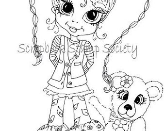 INSTANT DOWNLOAD Digital Digi Stamps Ellie and Cookie By Sherri Baldy