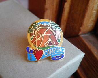 Vintage Enamel Pin - I Love Camping Wanderlust Brooch - I Heart Camping Pin - Kitschy Retro Happy Camper Outdoors Pin Cloisonne Jewelry Gift