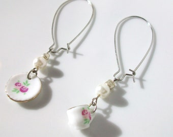 Pink flower cup and saucer ear wire earrings