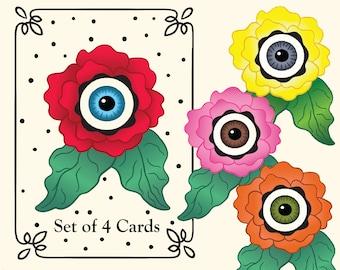 Set of Eight 8 Begonia Eyeball Flower Greeting Cards, Blank Notecards Red Orange Pink Yellow Halloween, Floral, Goth - Steampunk - Gardeners
