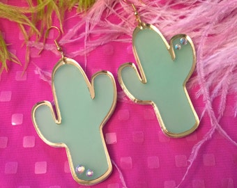Frosted Green and Gold Cactus Earrings, Laser Cut Acrylic, Plastic Jewelry