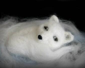 Needle felted arctic fox, felted fox, white fox
