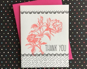 Thank You Roses & Dots Letterpress Card