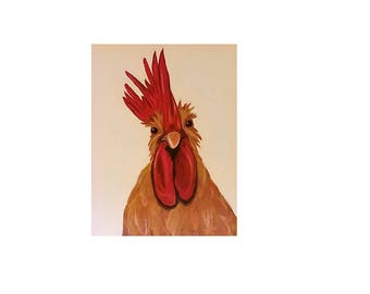 Rooster Wall Art Print, original art, rooster print, chicken print, kitchen decor, rooster painting, chicken painting, rooster, chicken