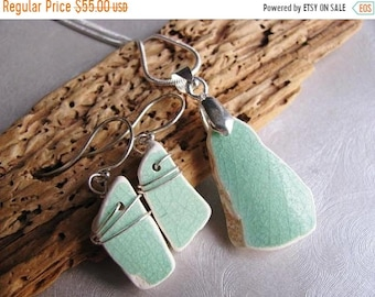 Mothers Day Sale Green Ceramic Set - Sea Glass - Jewelry Set - Ceramic Sea Glass - Very Rare Ceramic from the Beach - Prince Edward Island P