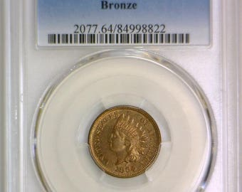 1864 Bronze Indian Head Cent PCGS MS-64 RB; Mostly Red!