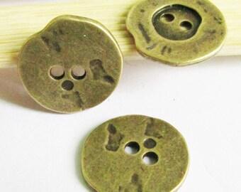 Buttons -15pcs Antique Bronze Button Charm Pendants 20mm D104-2
