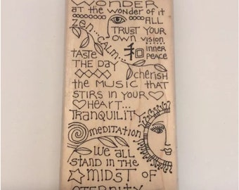 Paula Best Zen Wisdom Wood Mounted Rubber Stamp Celebrate Life Saying Meditation