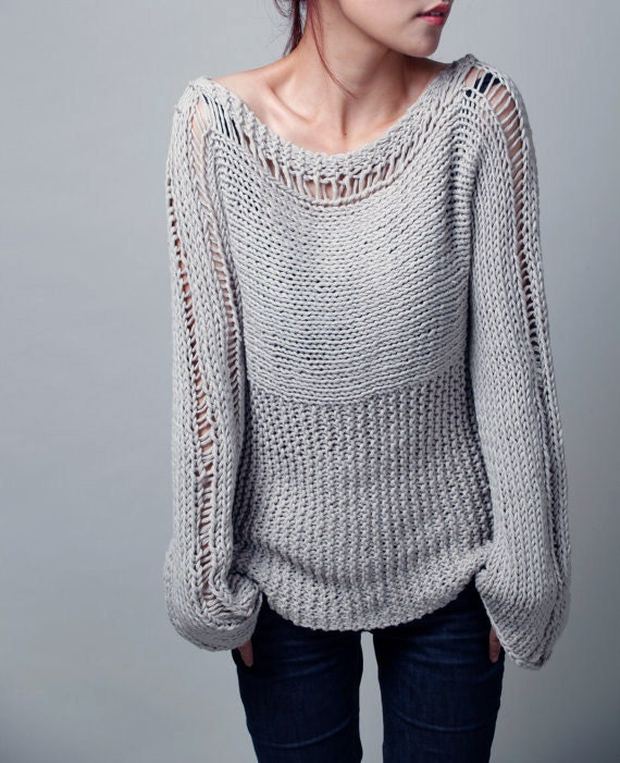 Hand Knit Woman Sweater Eco Cotton Sweater In Light