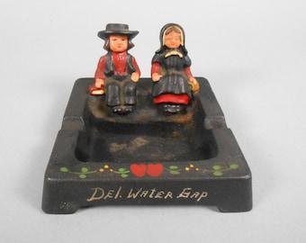 Amish Cast Iron Square Ashtray Pennsylvania Dutch Del Water Gap Souvenir