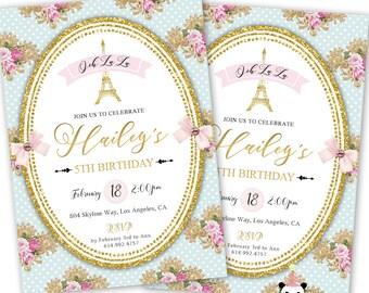 Paris Birthday Invitation, Girl's Birthday Paris Invitations, Parisian Themed Invites, Eiffel Tower, Shabby Chic, Paris Theme Invitation