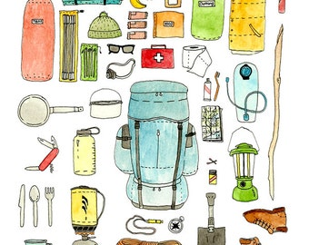 Backpacking gear checklist art print