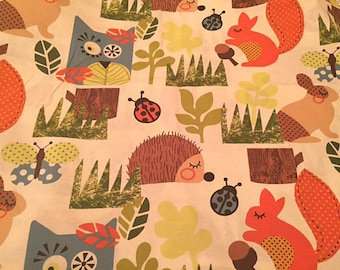 Woodland Creatures, Forest Animals, Hedgehogs and Squirrels, Happy Sunshine from Moda