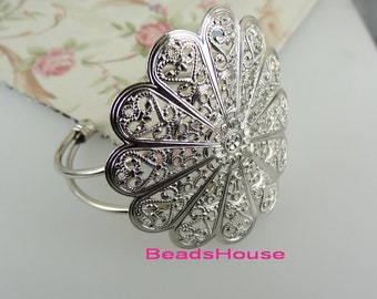 20%off CB-01-Ant   1pc Silver Plated Brass Large Filigree Cuff  Bracelet- Nickel Free