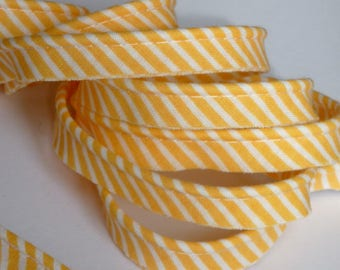 4 m of cotton piping Pinstripe apricot, orange and white 10mm