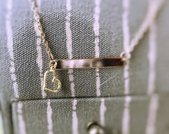 Gold Bar Necklace with Heart Charm