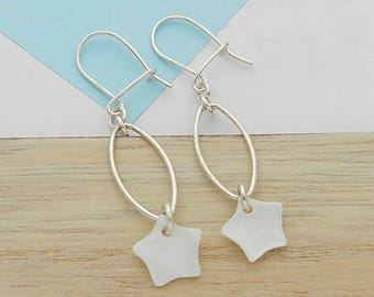 Pretty earrings star mother of Pearl and silver