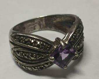 Vintage Sterling Silver Marcasite Princess Cut Amethyst Ring