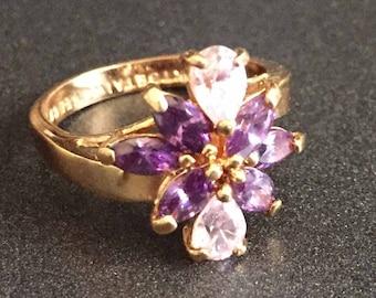 Purple & Pink Rhinestone Ring on Gold Plated Band, Size 8 Rhinestone Ring