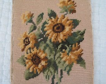Sunflower Needlepoint Fall Color Golds Browns Greens on Beige Complete Pillow or Frame