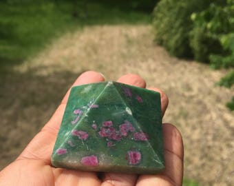 Ruby and fuschite pyramid
