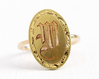 Sale - W Signet Ring - 10k Yellow Gold Edwardian Era Initial Statement - Size 5 1/4 Vintage Cufflink Letter Personalized Conversion Jewelry