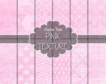 """Pink digital paper: """"PINK TEXTURES"""" with pink damask, crosshatch, quatrefoil, flowers, lace, polka dots, triangles, stripes patterns"""