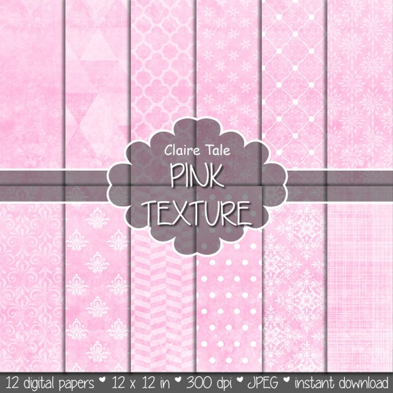 "Pink digital paper: ""PINK TEXTURES"" with pink damask, crosshatch, quatrefoil, flowers, lace, polka dots, triangles, stripes patterns"