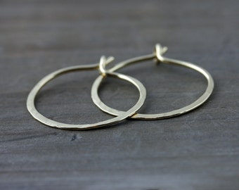 Small Hammered Hoop Earrings, Hand Forged Hoop Earrings, 14k Gold Fill, Red Brass, Sterling Silver, Rose Gold Fill, Bronze, Copper