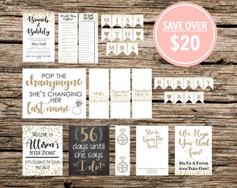 Customized - Printable - Gold and White Bridal Shower Party Pack - Brunch and Bubbly Kit with Invitations, Decor, Games, Favors, & MORE