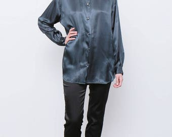 Rare Vintage 80's Moschino Dark Green Petrol Satin shirt