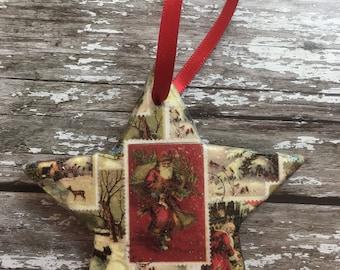 Vintage Stamp Theme Christmas Star Ornament, Christmas Tree Decoration, Star Decoration, Christmas Ornament, Christmas gift