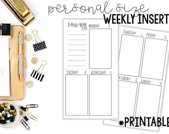 Personal Weekly Inserts Printable, Personal Weekly Inserts, Personal Weekly Planner Printable, Printable Personal Planner Inserts