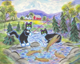 ORIGINAL FOLK ART, Two Black Cats Trout Fishing in the Brook behind their Farm, by D M Laughlin