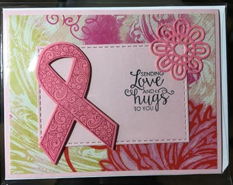 Breast Cancer Awareness Pink Ribbon Greeting Card