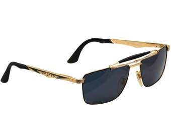 Sting vintage aviator sunglasses 80s, made in Italy. Gold metal vintage aviators / Sunglasses for men / Mens sunglasses with bar on top