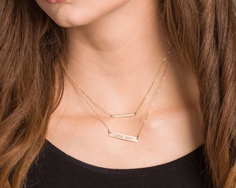 Bar Necklace SET, Gold, Rose Gold, Silver, Custom Gold Bar Set, Engraved Necklace, Customized Name Bar Set, Personalized Gold Bar Necklace
