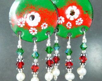 Christmas Chandelier Earrings Red Green White Floral Enamel Boho Earrings Rustic Holiday Jewelry Party Jewelry Hippie Dangle Enameled Copper