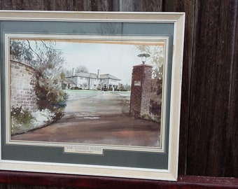 Large Vintage Watercolour of The Garden House Sevenoaks Kent.