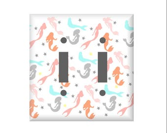 Cute Mermaid Light switch Cover, Mermaid Switchplate bathroom, Mermaid bedroom, Lighting Home Decor, Rocker Cover, Outlet cover