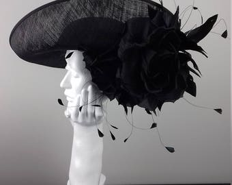 Large picture hat with silk dupion flower and feather spray perfect for weddings/the Melbourne Cup/Kentucky Derby