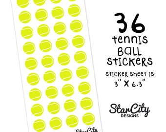 Tennis Ball Stickers, Tennis Planner Stickers, Sports Stickers, Tennis Stickers, Game Day Planner Stickers, Decorative Stickers