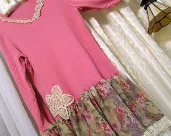 Pink Boho Sweater, romantic long tunic style, doily and lace embellished, plus size, dark rose pink - 1X X LARGE
