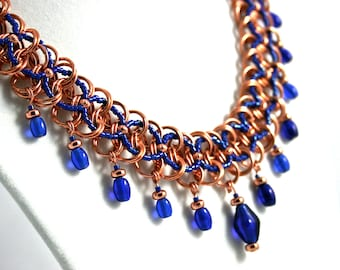 Copper Jewelry Chainmaille and Blue Beadweaving Pendant Necklace, Cobalt Blue Glass Drops